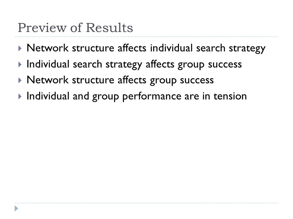 Preview of Results  Network structure affects individual search strategy  Individual search strategy affects group success  Network structure affects group success  Individual and group performance are in tension