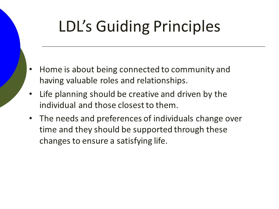 LDL's Guiding Principles Home is about being connected to community and having valuable roles and relationships.