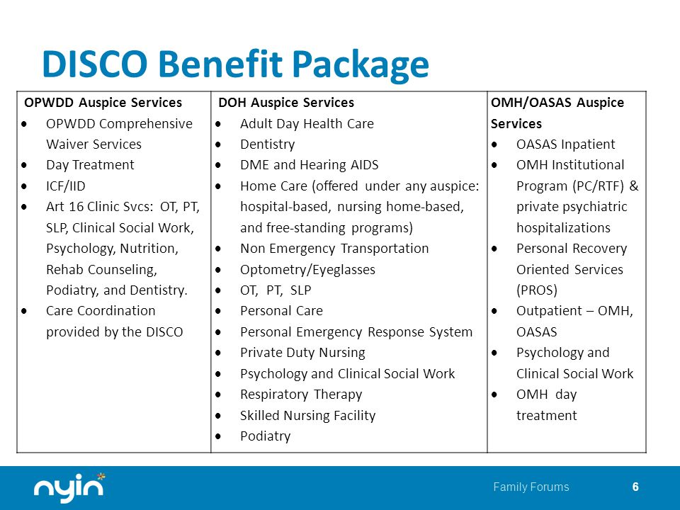 DISCO Benefit Package Family Forums6 OPWDD Auspice Services  OPWDD Comprehensive Waiver Services  Day Treatment  ICF/IID  Art 16 Clinic Svcs: OT, PT, SLP, Clinical Social Work, Psychology, Nutrition, Rehab Counseling, Podiatry, and Dentistry.
