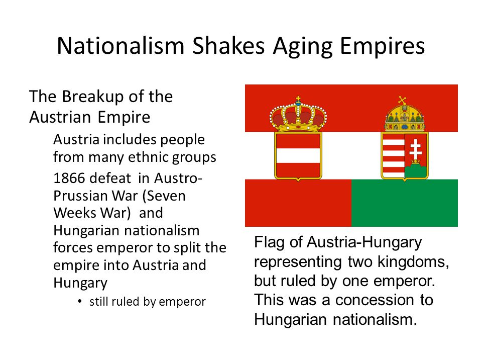 Nationalism Shakes Aging Empires The Russia Empire Crumbles After 370 years, Russian czars begin losing control over their empire Russification—forcing other peoples to adopt Russian culture policy further disunites Russia, strengthens ethnic nationalism