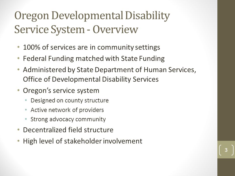 Oregon Developmental Disability Service System - Overview 100% of services are in community settings Federal Funding matched with State Funding Administered by State Department of Human Services, Office of Developmental Disability Services Oregon's service system Designed on county structure Active network of providers Strong advocacy community Decentralized field structure High level of stakeholder involvement 3