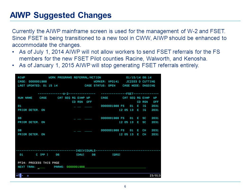AIWP Suggested Changes Currently the AIWP mainframe screen is used for the management of W-2 and FSET. Since FSET is being transitioned to a new tool