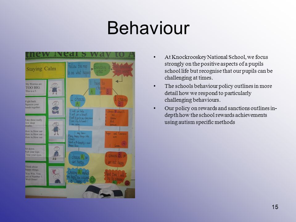 Behaviour At Knockrooskey National School, we focus strongly on the positive aspects of a pupils school life but recognise that our pupils can be chal