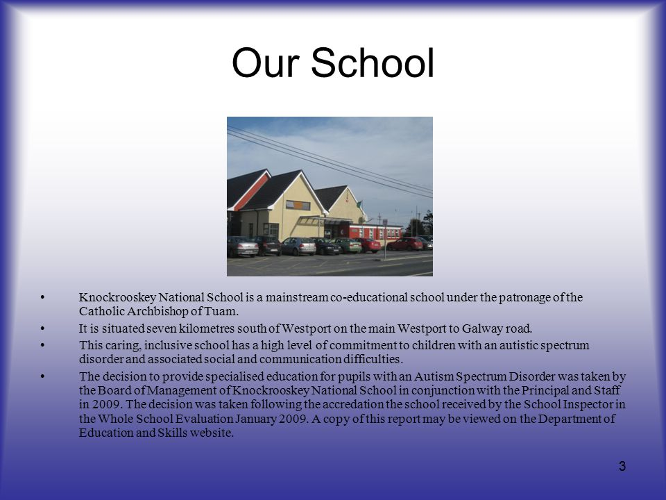 Our School Knockrooskey National School is a mainstream co-educational school under the patronage of the Catholic Archbishop of Tuam. It is situated s