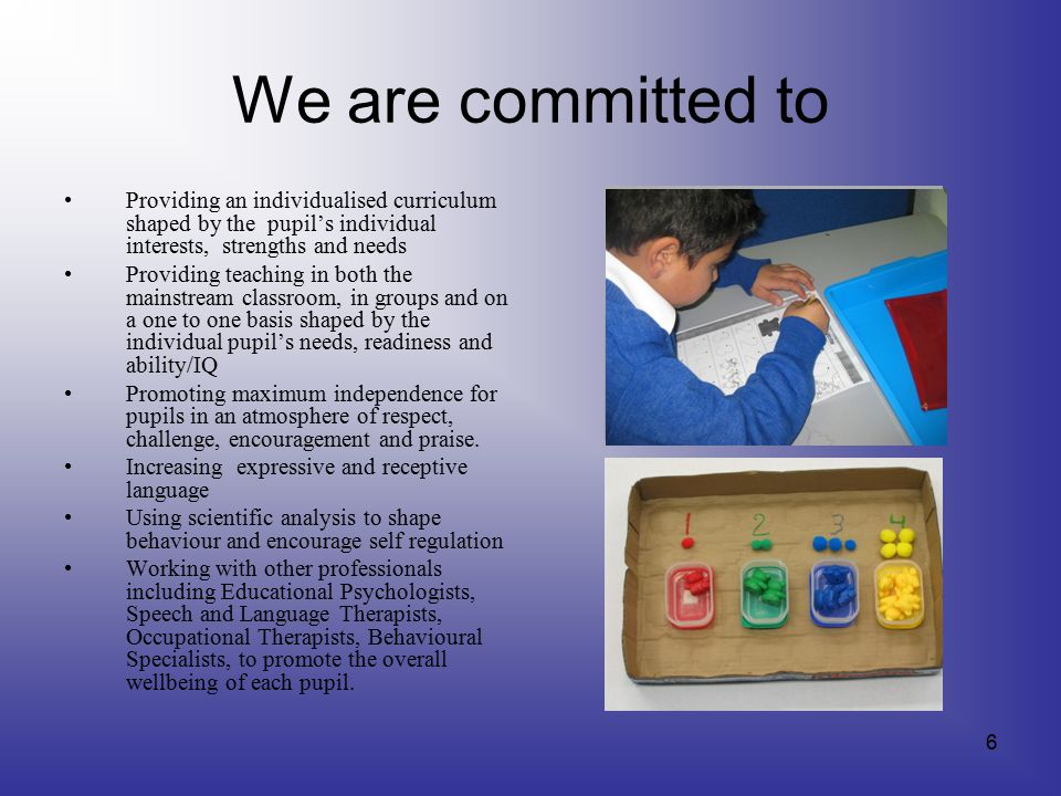 We are committed to Providing an individualised curriculum shaped by the pupil's individual interests, strengths and needs Providing teaching in both the mainstream classroom, in groups and on a one to one basis shaped by the individual pupil's needs, readiness and ability/IQ Promoting maximum independence for pupils in an atmosphere of respect, challenge, encouragement and praise.