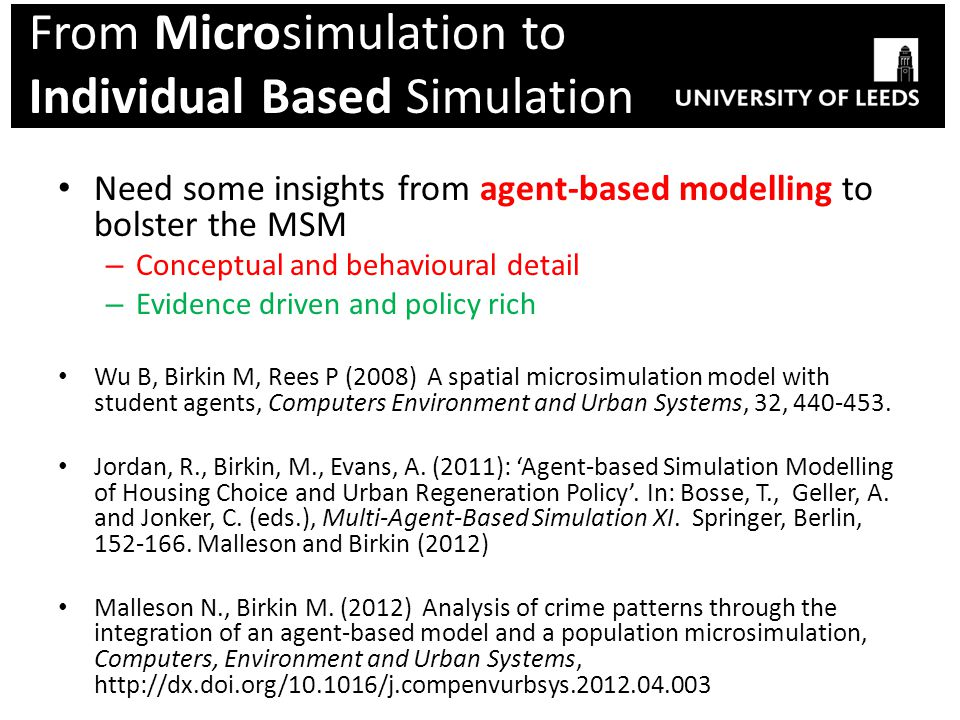 From Microsimulation to Individual Based Simulation Need some insights from agent-based modelling to bolster the MSM – Conceptual and behavioural deta