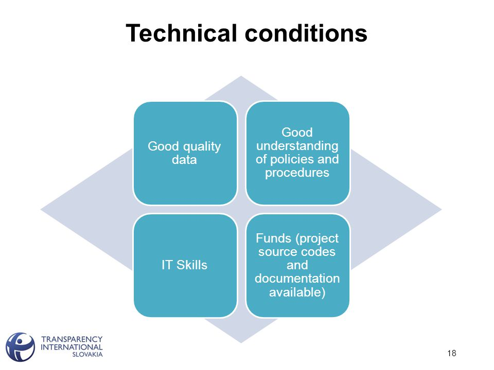 Technical conditions 18 Good quality data Good understanding of policies and procedures IT Skills Funds (project source codes and documentation available)