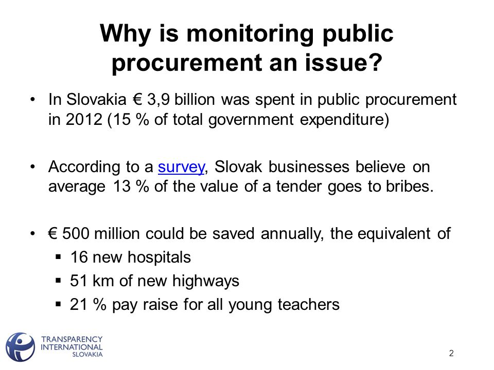 Analysis of trends in procurement & investigation of individual tenders: Closer attention should be paid to public procurement in Slovak health care 13 Source: tender.sme.sk