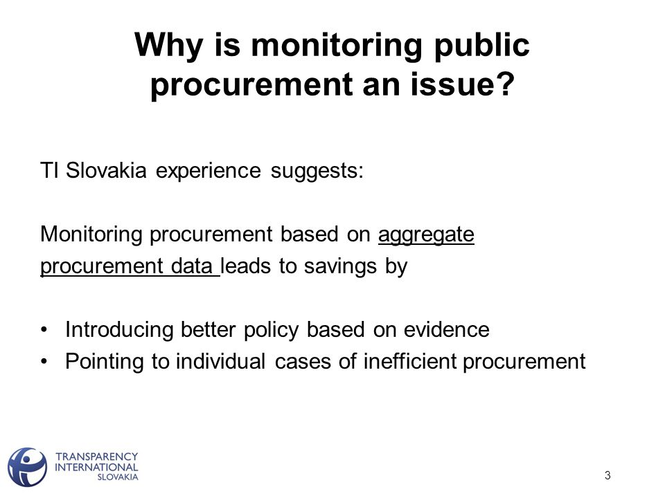 Why is monitoring public procurement an issue.