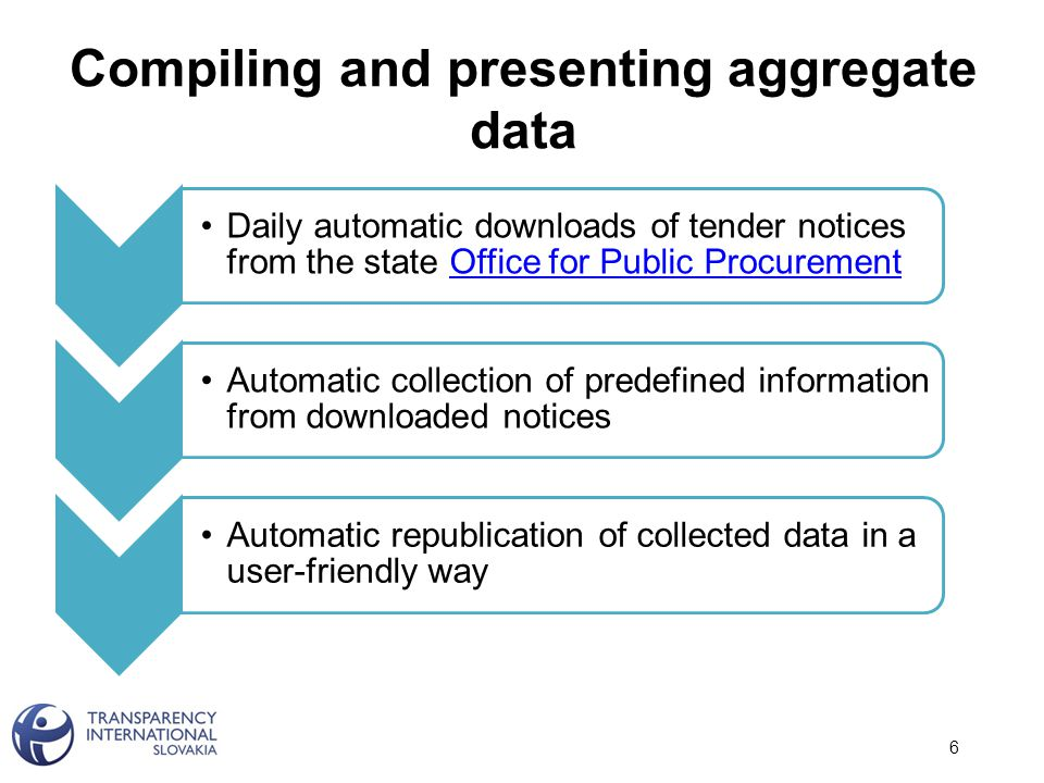 Compiling and presenting aggregate data Daily automatic downloads of tender notices from the state Office for Public ProcurementOffice for Public Procurement Automatic collection of predefined information from downloaded notices Automatic republication of collected data in a user-friendly way 6