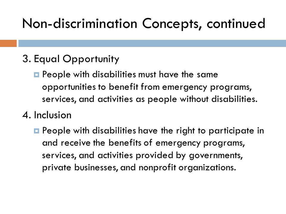 Non-discrimination Concepts, continued 3.