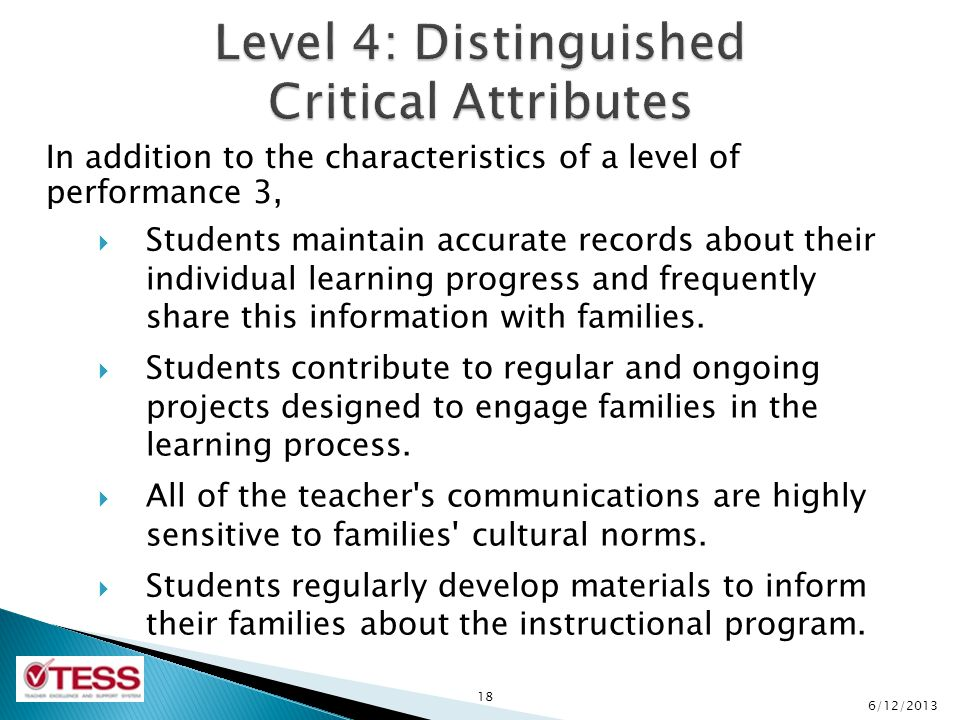In addition to the characteristics of a level of performance 3, 18  Students maintain accurate records about their individual learning progress and frequently share this information with families.