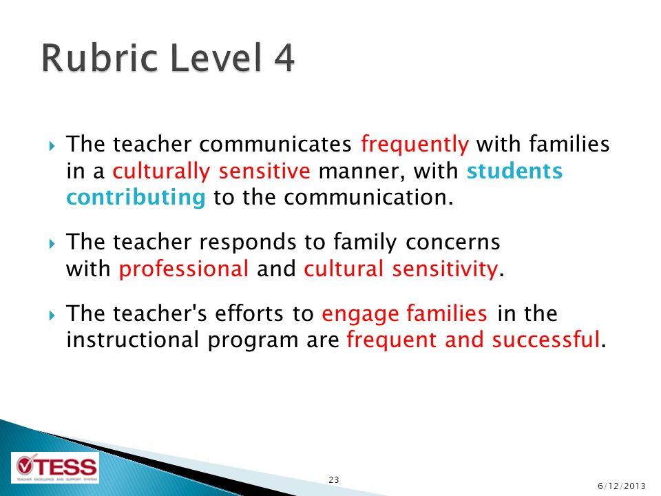 The teacher communicates frequently with families in a culturally sensitive manner, with students contributing to the communication.