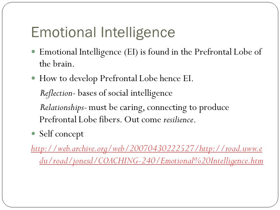 Emotional Intelligence Emotional Intelligence (EI) is found in the Prefrontal Lobe of the brain.