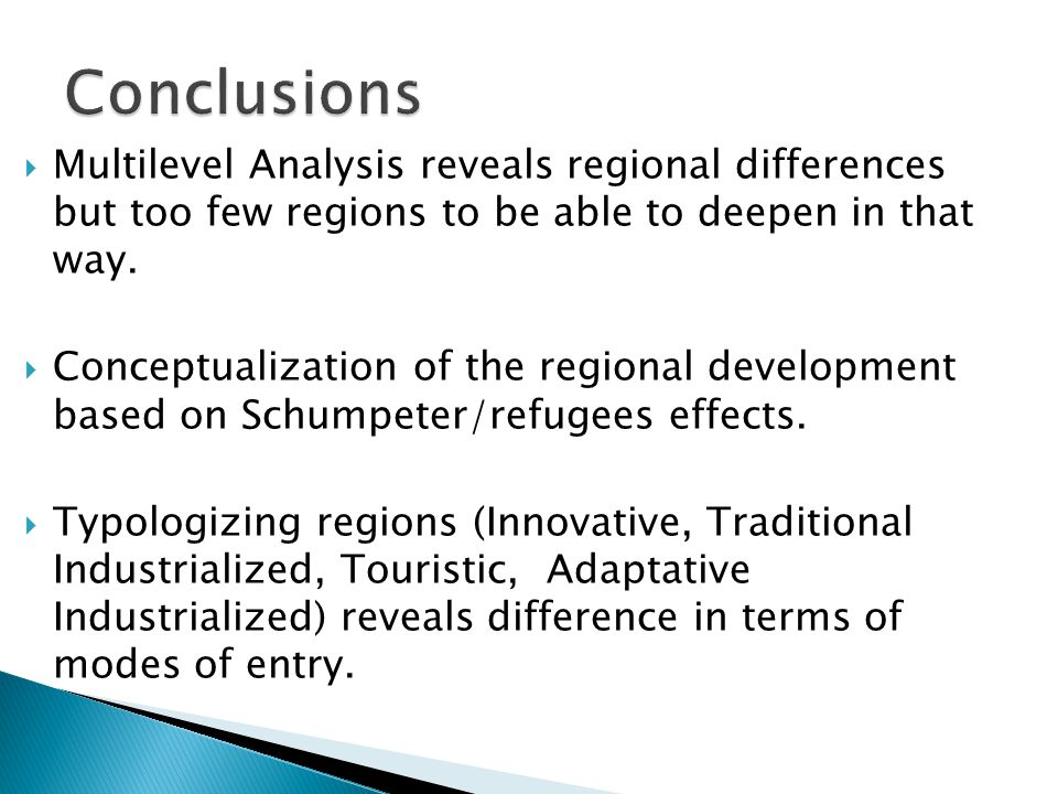  Multilevel Analysis reveals regional differences but too few regions to be able to deepen in that way.