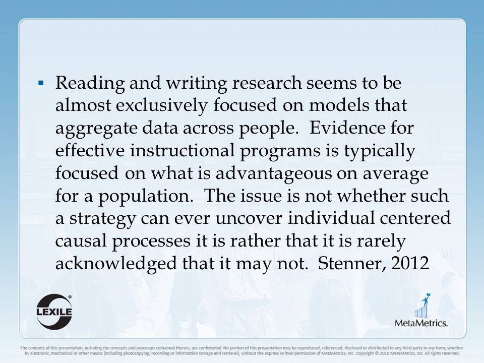  Reading and writing research seems to be almost exclusively focused on models that aggregate data across people.