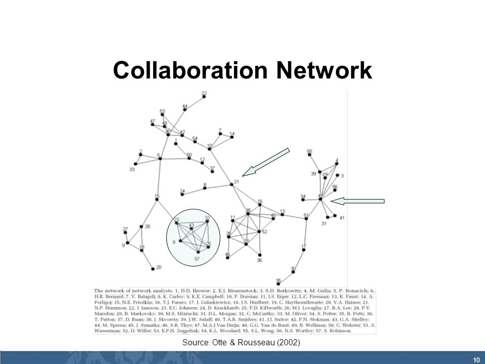10 Collaboration Network Source: Otte & Rousseau (2002)