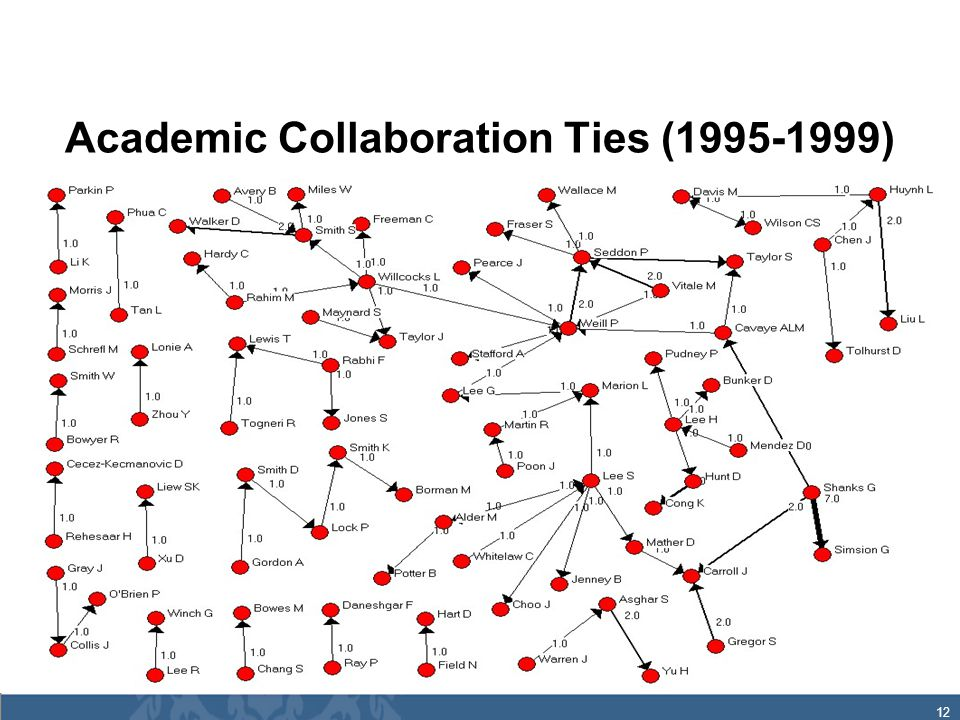 12 Academic Collaboration Ties (1995-1999)