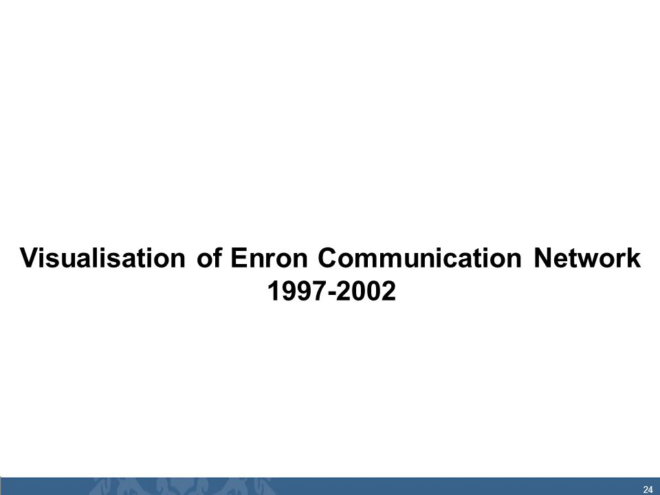 24 Visualisation of Enron Communication Network 1997-2002