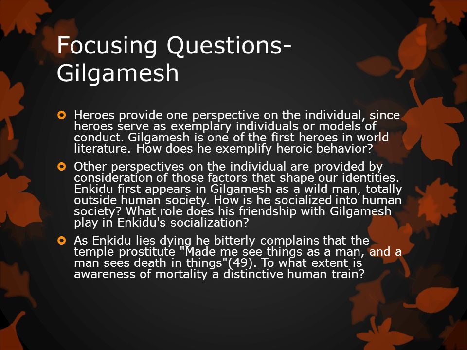 Focusing Questions- Gilgamesh  Heroes provide one perspective on the individual, since heroes serve as exemplary individuals or models of conduct.