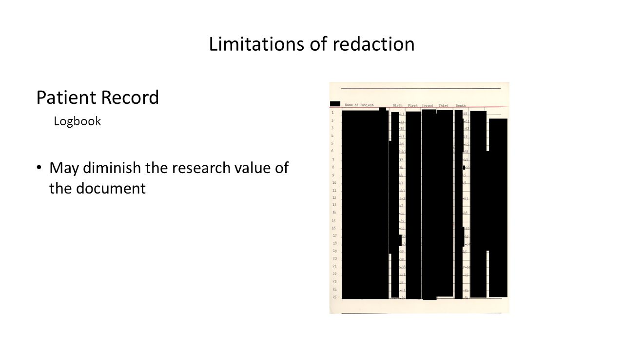Limitations of redaction Patient Record Logbook May diminish the research value of the document