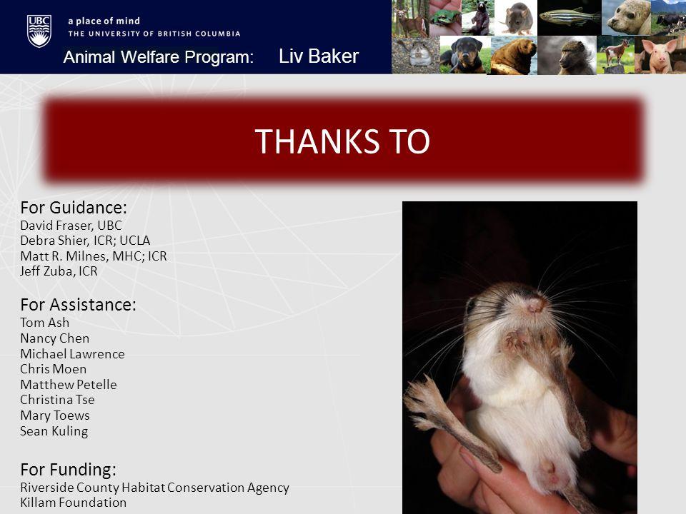 Animal Welfare Program: Liv Baker THANKS TO For Guidance: David Fraser, UBC Debra Shier, ICR; UCLA Matt R.