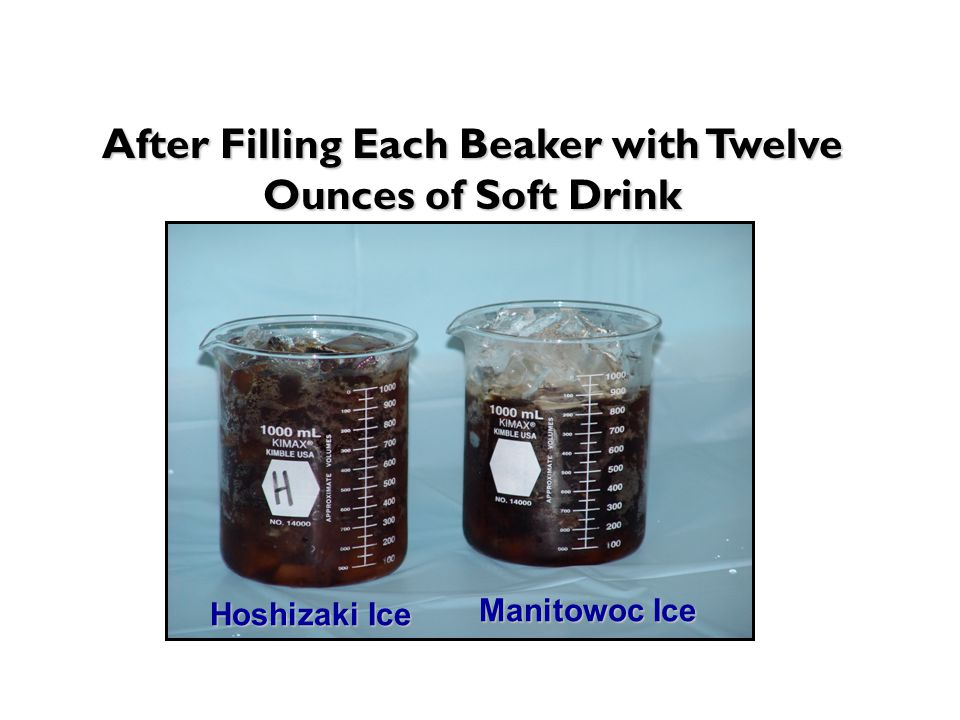 After Filling Each Beaker with Twelve Ounces of Soft Drink Hoshizaki Ice Manitowoc Ice