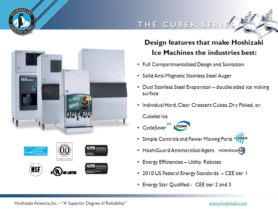 Design features that make Hoshizaki Ice Machines the industries best: Full Compartmentalized Design and Sanitation Solid Anti-Magnetic Stainless Steel