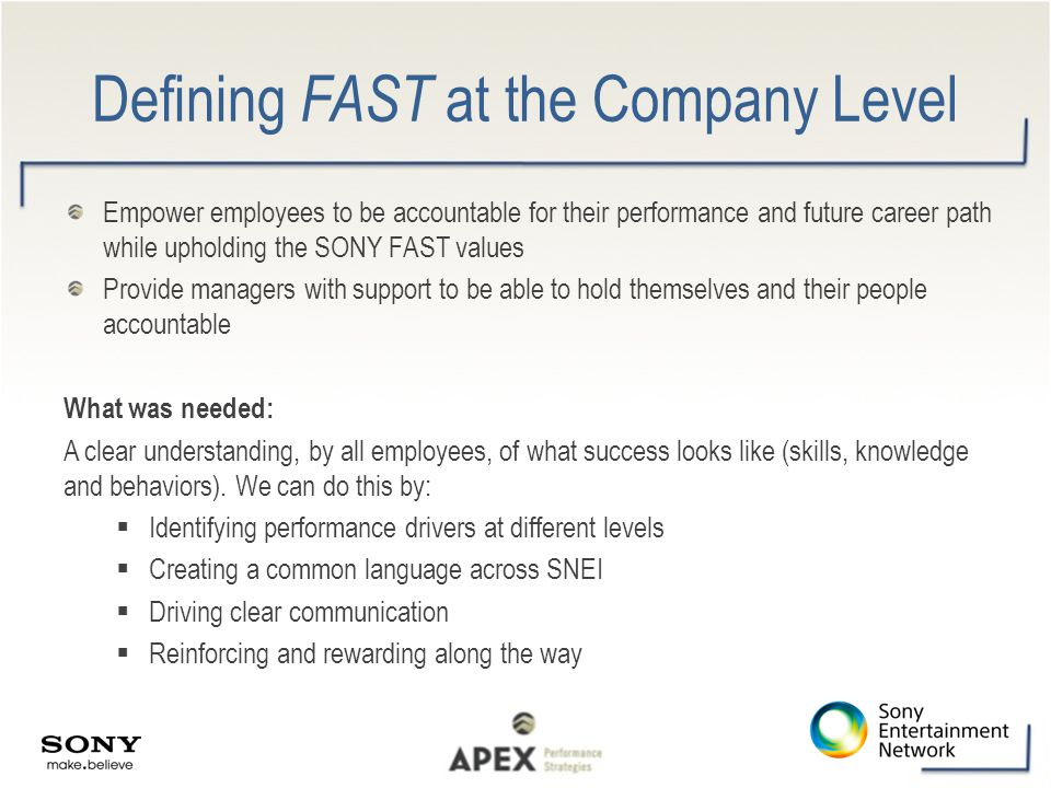Defining FAST at the Company Level Empower employees to be accountable for their performance and future career path while upholding the SONY FAST valu