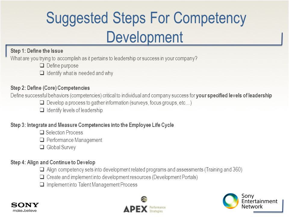 Suggested Steps For Competency Development Step 1: Define the Issue What are you trying to accomplish as it pertains to leadership or success in your