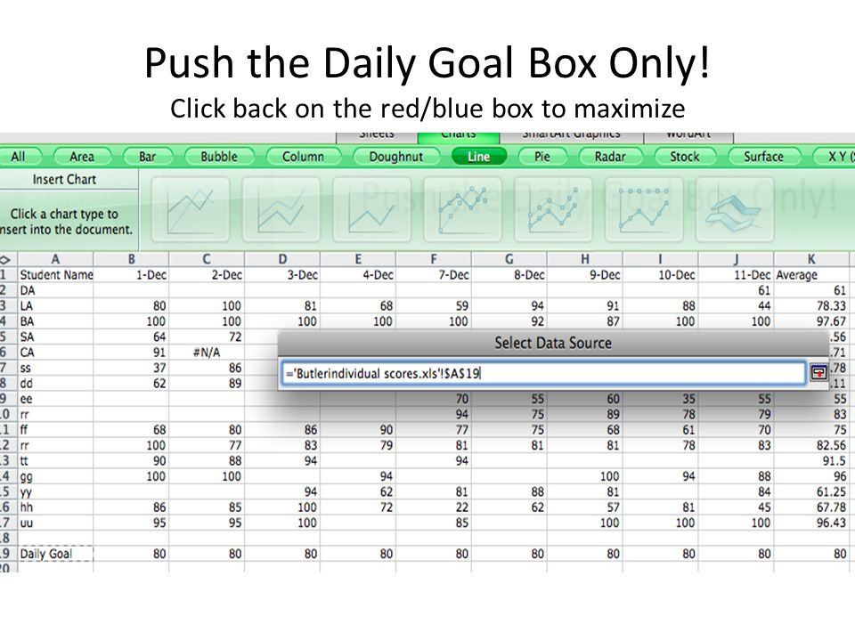 Push the Daily Goal Box Only! Click back on the red/blue box to maximize