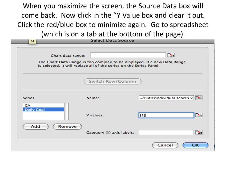 When you maximize the screen, the Source Data box will come back.