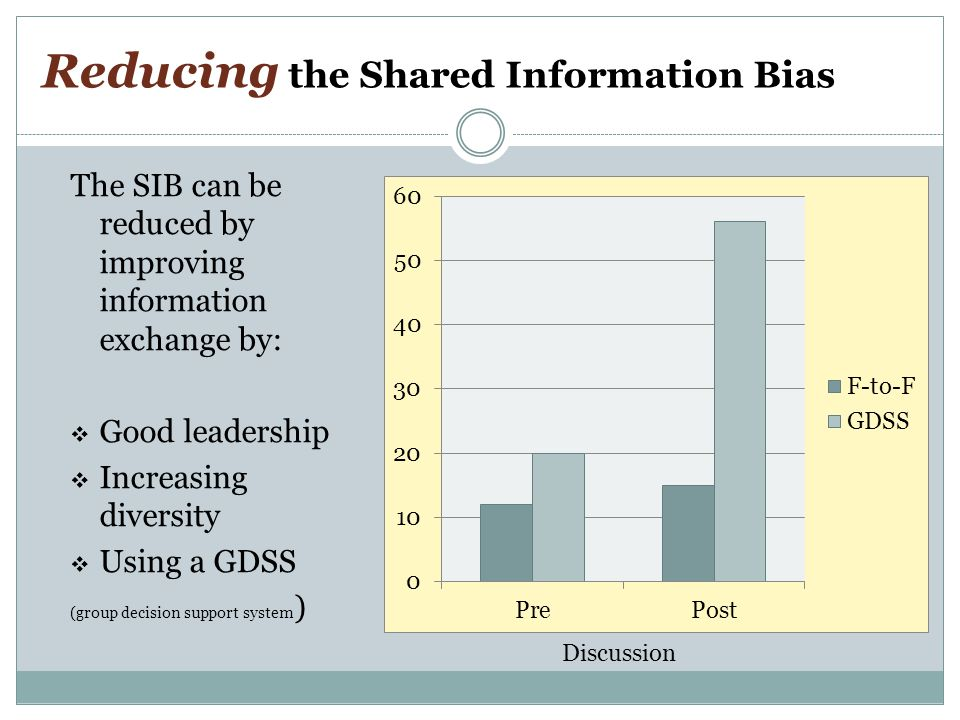 Reducing the Shared Information Bias The SIB can be reduced by improving information exchange by:  Good leadership  Increasing diversity  Using a GDSS (group decision support system ) Discussion