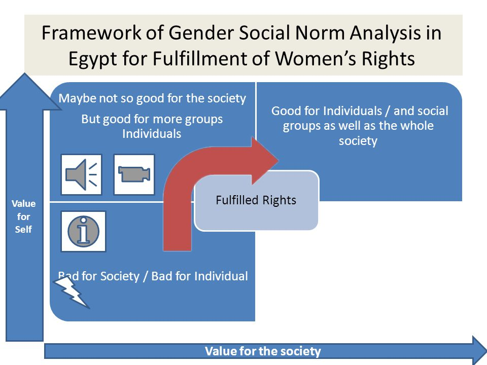 Framework of Gender Social Norm Analysis in Egypt for Fulfillment of Women's Rights Maybe not so good for the society But good for more groups Individ