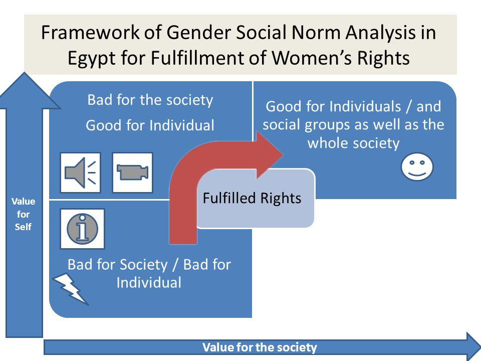 Framework of Gender Social Norm Analysis in Egypt for Fulfillment of Women's Rights Bad for the society Good for Individual Good for Individuals / and