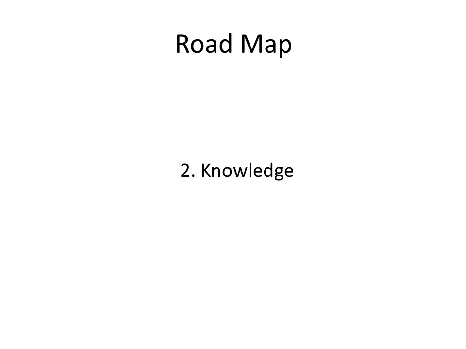 Road Map 2. Knowledge