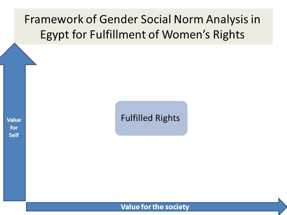 Framework of Gender Social Norm Analysis in Egypt for Fulfillment of Women's Rights Bad for the society Good for Individual Good for Individual / Good for Society Bad for Society / Bad for Individual Good for Society – Bad for Individual Fulfilled Rights Value for Self Value for the society