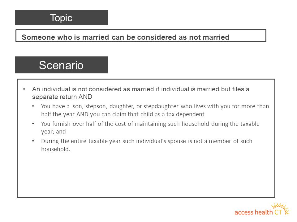 An individual is not considered as married if individual is married but files a separate return AND You have a son, stepson, daughter, or stepdaughter