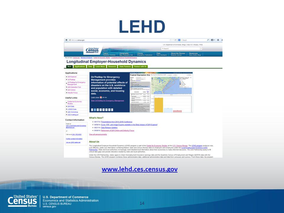 LEHD 14 www.lehd.ces.census.gov