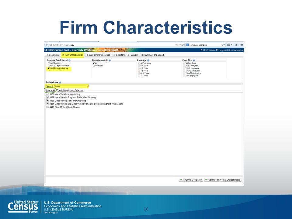 Firm Characteristics 16