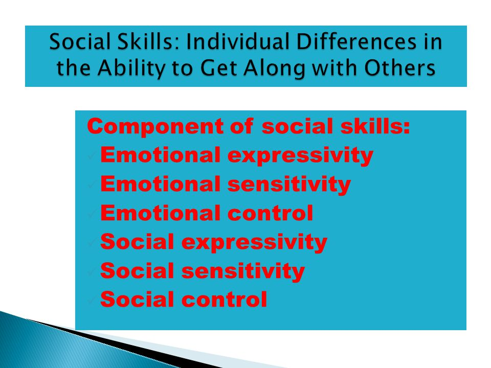 Component of social skills: Emotional expressivity Emotional sensitivity Emotional control Social expressivity Social sensitivity Social control