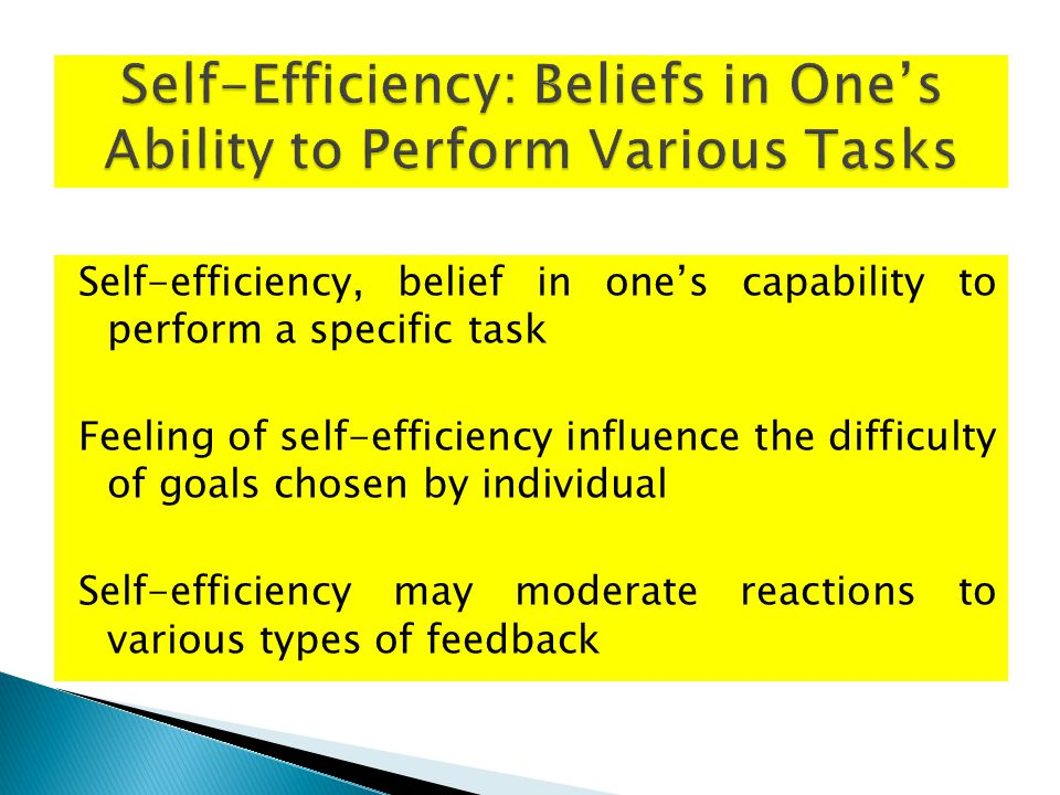 Self-efficiency, belief in one's capability to perform a specific task Feeling of self-efficiency influence the difficulty of goals chosen by individual Self-efficiency may moderate reactions to various types of feedback