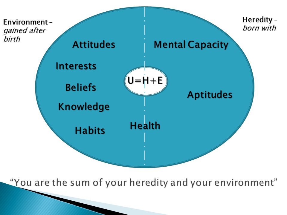 You are the sum of your heredity and your environment Environment – gained after birth Heredity – born with U=H+E Attitudes Interests Beliefs Knowledge Habits Health Mental Capacity Aptitudes
