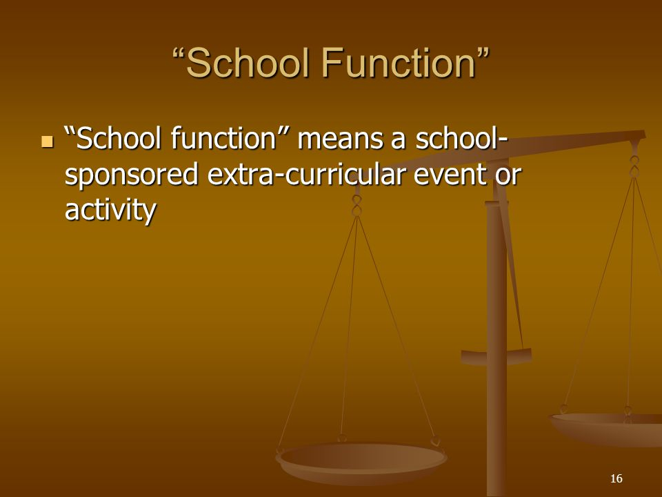 School Function School function means a school- sponsored extra-curricular event or activity School function means a school- sponsored extra-curricular event or activity 16