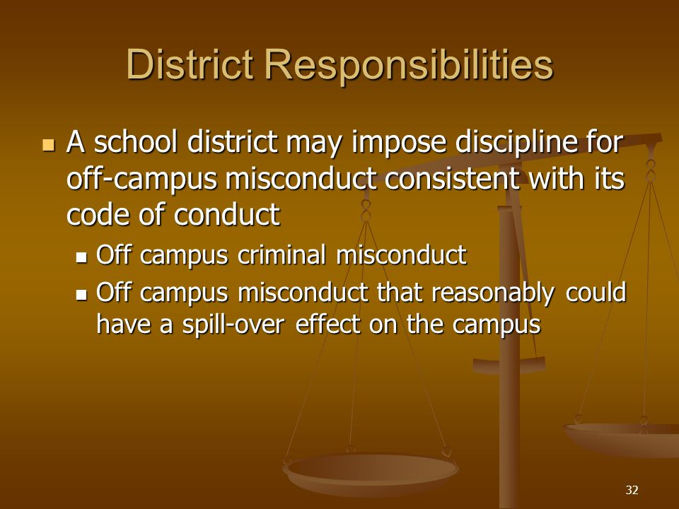 District Responsibilities A school district may impose discipline for off-campus misconduct consistent with its code of conduct A school district may impose discipline for off-campus misconduct consistent with its code of conduct Off campus criminal misconduct Off campus criminal misconduct Off campus misconduct that reasonably could have a spill-over effect on the campus Off campus misconduct that reasonably could have a spill-over effect on the campus 32