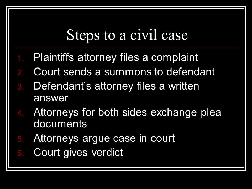 Steps to a civil case 1.Plaintiffs attorney files a complaint 2.