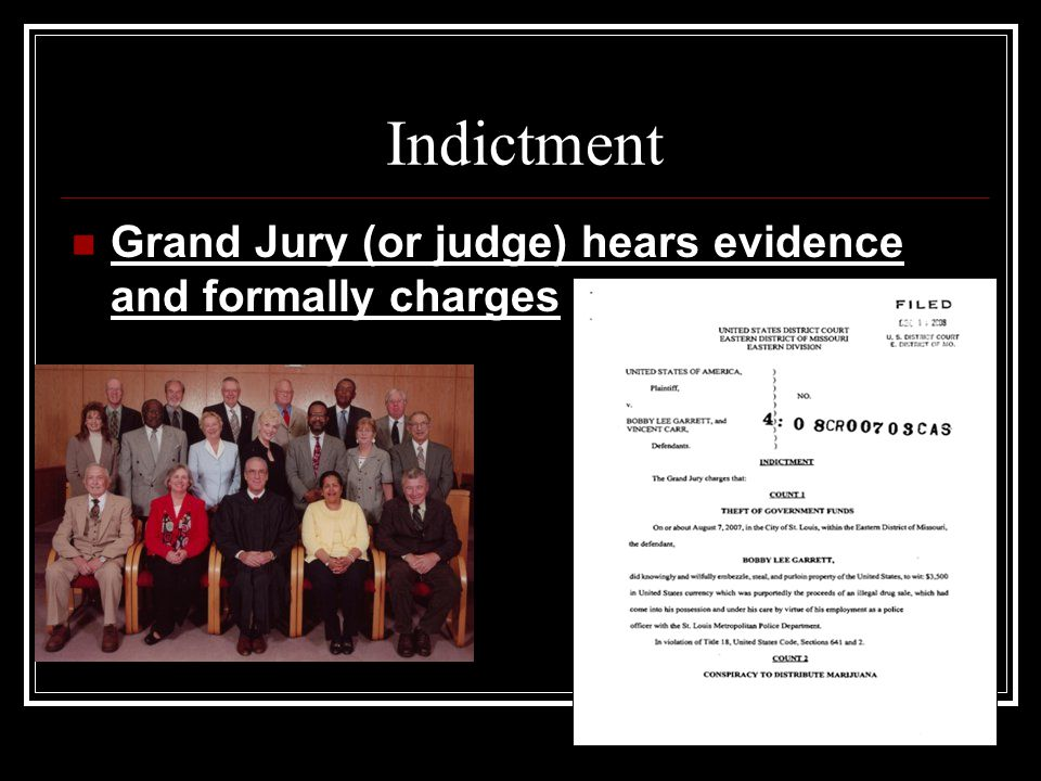 Indictment Grand Jury (or judge) hears evidence and formally charges