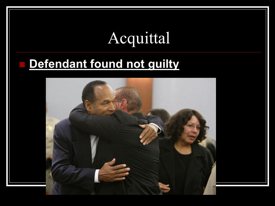 Acquittal Defendant found not guilty
