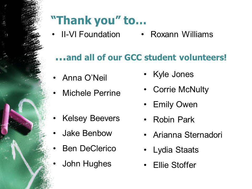 """Thank you"" to… II-VI Foundation Roxann Williams … and all of our GCC student volunteers! Anna O'Neil Michele Perrine Kelsey Beevers Jake Benbow Ben D"