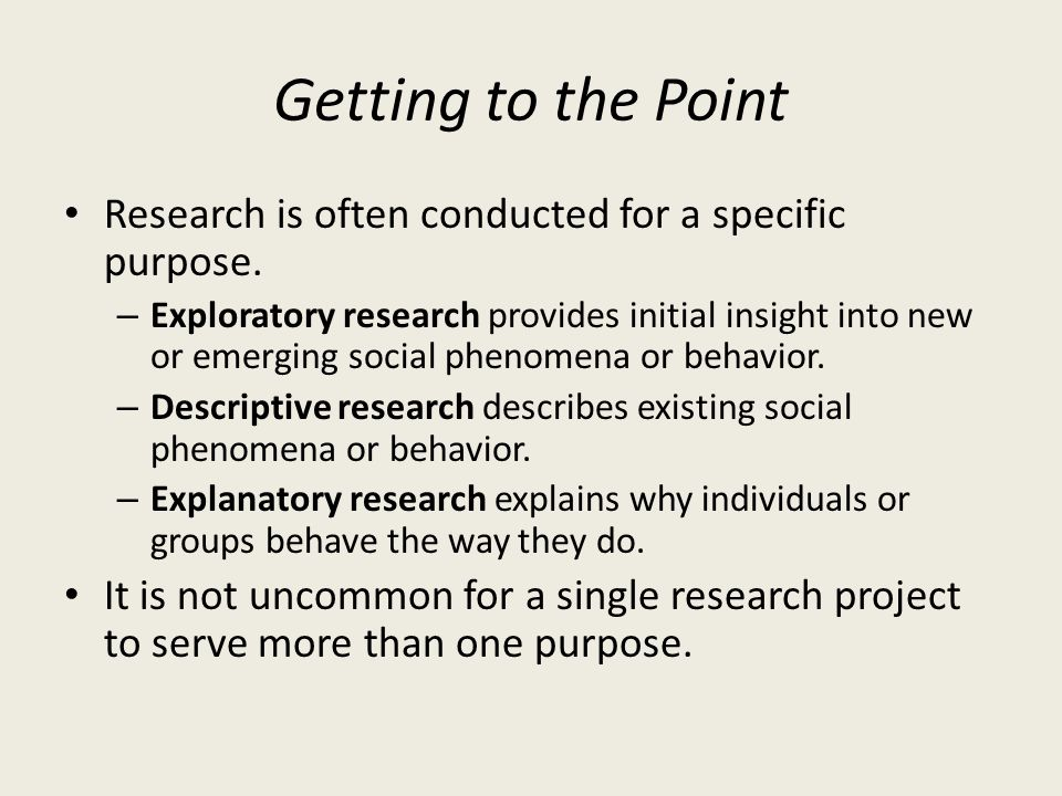 Getting to the Point Research is often conducted for a specific purpose.